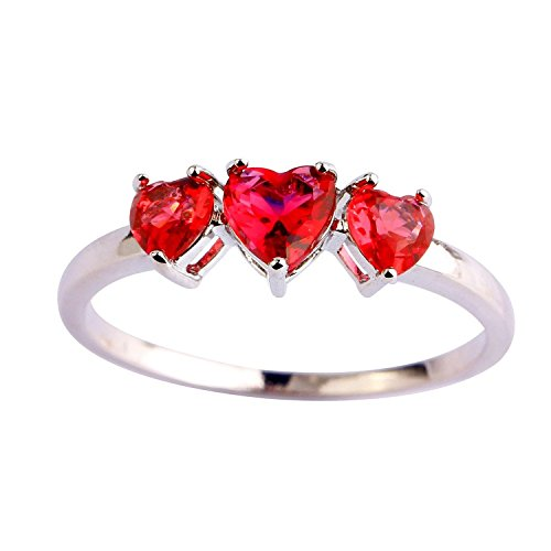 Psiroy Women's 925 Sterling Silver 2cttw Created Red Ruby 3-stone Filled Ring (Can Can Sally Child Costume)