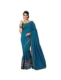 Ashika Designer Aqua Blue Color Raw Silk Material Saree, Sari(239)