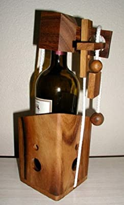 Wine Bottle Connoisseurs Dilemma wood brain teaser puzzle - a fun way to gift wine