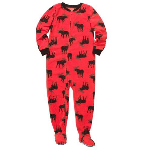 "Carter'S Big Boys ""Red Moose"" Fleece Footed Blanket Sleeper Pajamas-Size 5 Kids front-1020014"