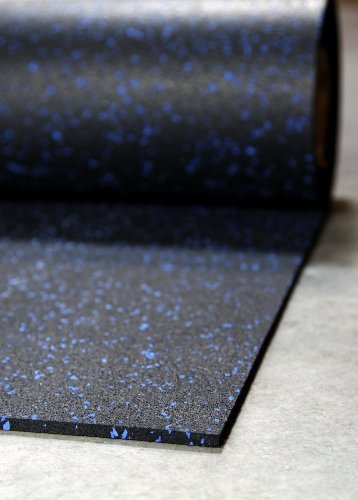 """1/4"""" Tough Rubber Roll (Blue, 4' X 10') - Excellent Gym Floor Mats For Medium/Large Equipment And Light/Moderate Free Weights"""