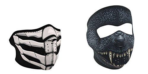 Bundle (2 Items): 1 ZanHeadgear 'Bones Breath', Glow in the Dark, Half Face Neoprene Face Mask -AND- 1 Zan 'Silver Bullet Fanged Werewolf' Full Face Neoprene Face Masks, Ski Mask (One Breath One Bullet compare prices)