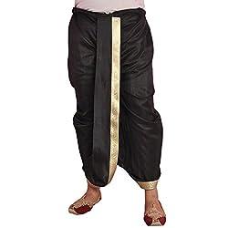 Larwa Black Dupion Lace Embroidered Dhoti for Men