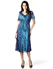 Per Una Fit & Flare Faux Snakeskin Print Belted Midi Dress