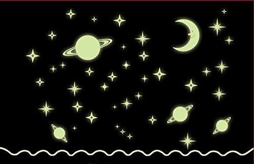 Wall Sticker Decal Fluorescent Luminous Stars and Moon Glow in the Dark for Kids Room Nursery and Daycare Mural Decor Removable DIY Self adhesive New