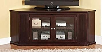 Matope collection corner unit espresso finish wood TV stand entertainment center with glass front storage cabinet