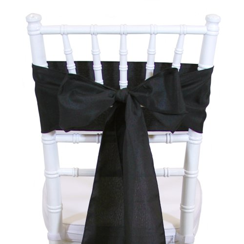 Koyal Wholesale 10-Pack Polyester Chair Sash, 6 By 108-Inch, Black