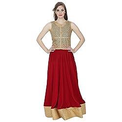 Emmylyn Red & Golden Sequined Skirt For Women