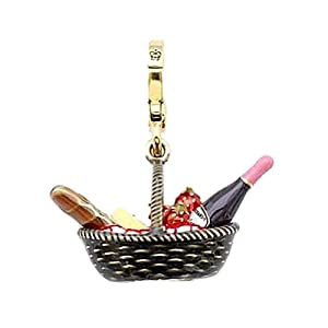 Juicy Couture - Country Picnic Basket / Champagne, Strawberries, Baguettes and Cheese - Gold Plated Charm