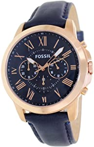 Fossil Men's FS4835 Grant Analog Display Analog Quartz Blue Watch from Fossil