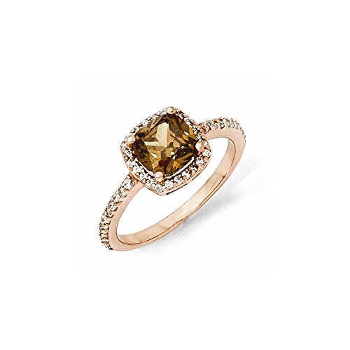 Cheryl M Sterling Silver w// Rhodium Rose Gold-Plated CZ Ring