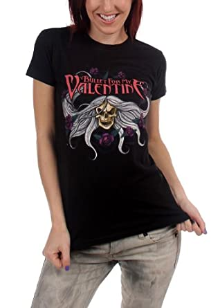 Bullet For My Valentine Skull & Flowers Juniors T-Shirt In Black, Size: Large, Color: Black