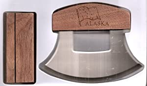 Alaskan Ulu Etched State Flag & State Wood Handle Knife & Display Stand