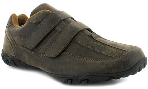 Mens Velcro Fashion Casual Shoes - Brown - UK 10