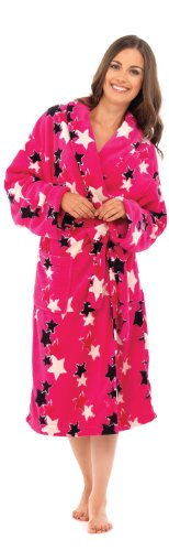 Octave Ladies Pink Supersoft Coral Fleece Star Print Robe / Dressing Gown