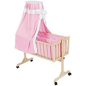 TecTake Cuna mecedora completa para bebés rosa en BebeHogar.com