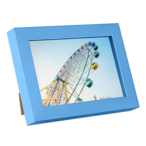 BOJIN Wooden Table Top Picture Frame , Blue Wood Photo Frame, Holds Picture 6x8 Without Mat (8x6 Picture Frame compare prices)