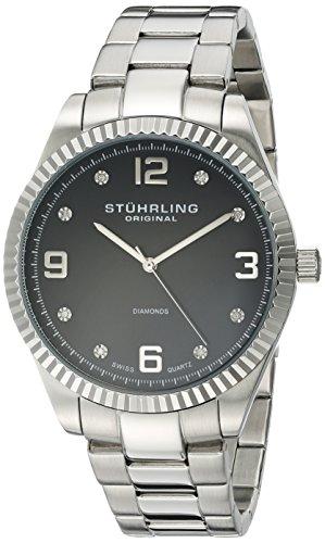 Stuhrling Original - Classique Allure - 607G.02 - Affichage Analogique - Bracelet - Acier Inoxydable - Argent - Cadran - Noir - Hommes
