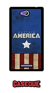 Caseque Starmark Captain America Back Shell Case Cover For Sony Xperia C