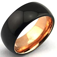 buy Domed Polished Tungsten Carbide Rings Black Plated Surface And Rose Gold Plated Interior 8Mm (10.5)