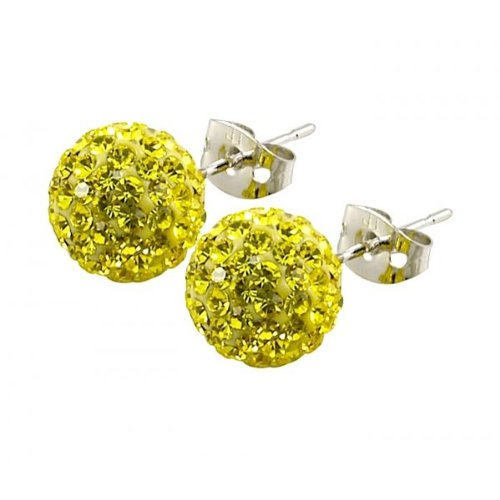 Tresor Paris 'Clecy' Yellow Crystal Earrings, 10mm