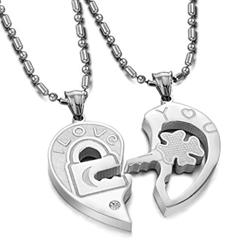 Men Women Stainless Steel Necklace Pairs Puzzle Key lock Pendant Silver by Aienid (Lock And Key Costume)
