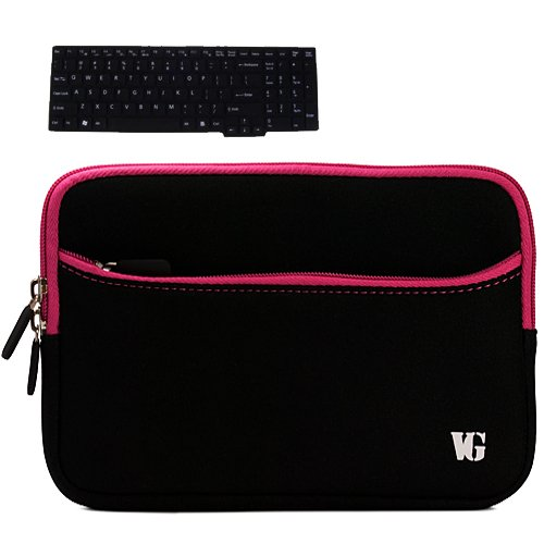 Magenta Trim Durable Neoprene Laptop Sleeve Carrying Case for Asus 15.6-inch Laptop Series U50, U50A, U50F, U50V, UL50, UL50AG, UL50VT, UX50V + Black Silicone Keyboard Skin Cover for ASUS G Series, N6 Series and U Series