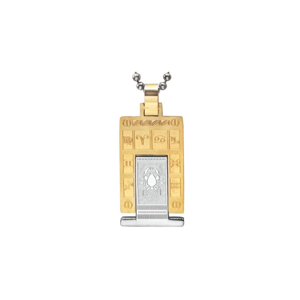 Embossed Zodiac Sign Silver and Gold Tone Rectangular Stainless Steel Pendant Necklace   Cancer 24
