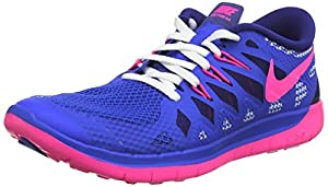 Nike Girl's Free 5.0+ (GS) Running Shoes-Blue/Pink-5.5