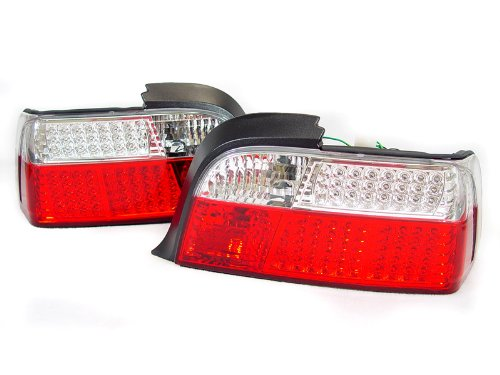 A Pair Of Depo Red And Clear Lense Full Led Tail Lights - Bmw 3-Series E36 2Dr 1992-1999