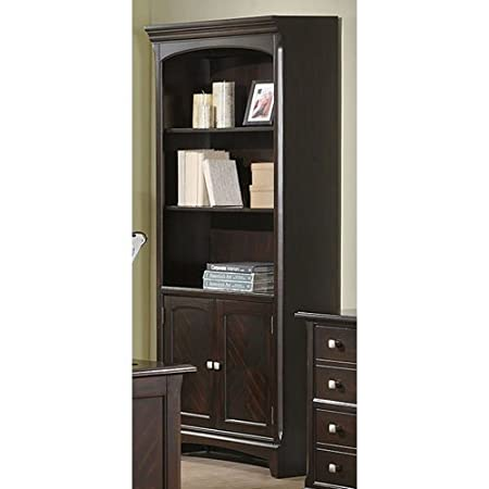 Bookcase with Three Shelves and Door Base in Rich Cappuccino Finish