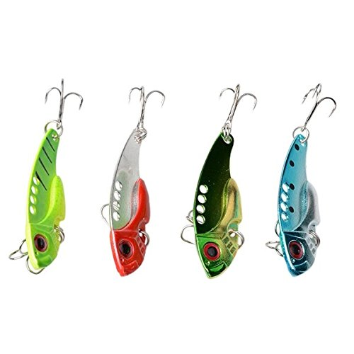 Lily's Gift Newest Lot 4pcs VIB Metal Fishing Lures Floating Rattles Treble Hooks