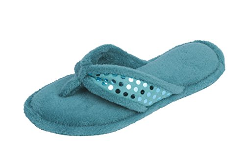 BEVERLY ROCK Womans Sequin Studded Terry Spa Thong Flipflop Slippers GRN-L