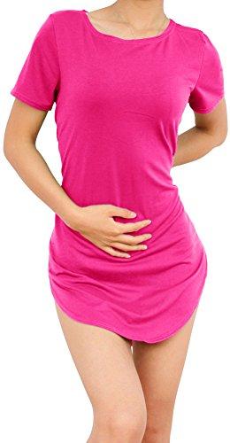 SlickBlue Women Side Slit Dresses Casual Summer T Shirt Beach Short Mini Dress XL Pink