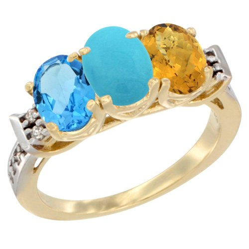 10K Yellow Gold Natural Swiss Blue Topaz, Turquoise & Whisky Quartz Ring 3-Stone Oval 7x5 mm Diamond Accent, size 5.5