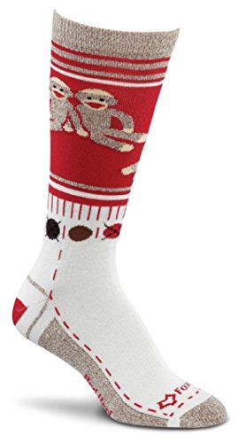 Fox River Women's Red Heel Monkey Friends Merino Wool Crew Socks at 'Sock Monkeys'
