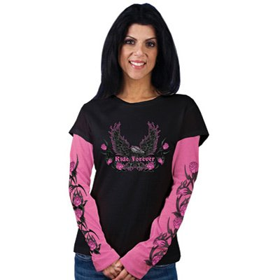 Hot Leathers Ride Forever Long Sleeve Ladies T-Shirt Ladies X-Large Black/Pink