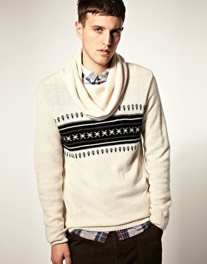 Mens Fairisle Asos Textured Snood Neck Jumper Sweater