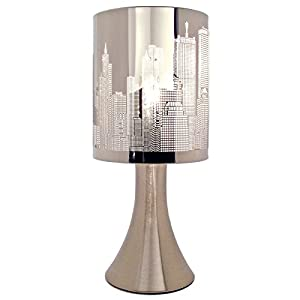 Pair of Chrome Metal Touch Operated Lamps - Set of 2 City Skyline Table Lights - Modern Bedside Bedroom Lighting With 4 Stage Dimmer Control from Great Ideas By Post EshopRetailLtd