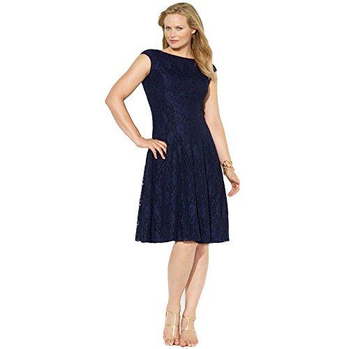 Lauren By Ralph Lauren Navy Lace Fit & Flare Dress 16