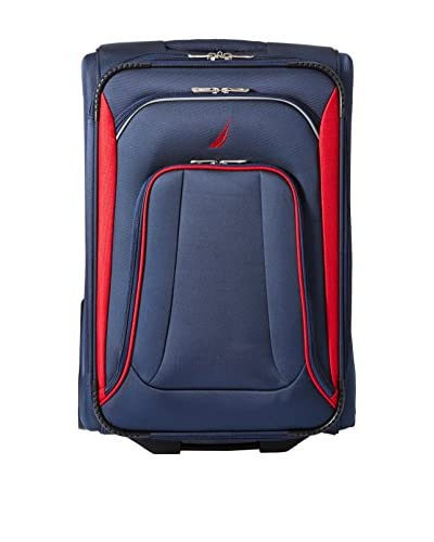 "Nautica Luggage Charter 24"" Expandable Rolling Suitcase, Navy/Red"