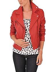Syedna Red Leather Women Biker Jacket