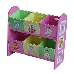 4Gr8 Kidz Pink Series Kids Wooden 6-Bin Toy Organizer