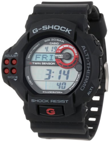 Casio Men's GDF100-1A G-Shock Twin Sensor Multi-Functional Black Resin Digital Sport Watch