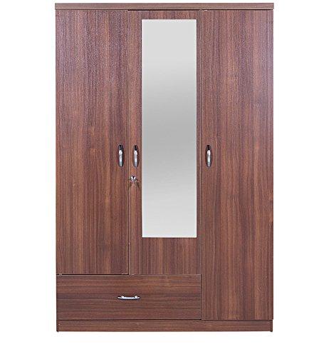 HomeTown Ultima 3-Door Wardrobe with Mirror (Regato Walnut)