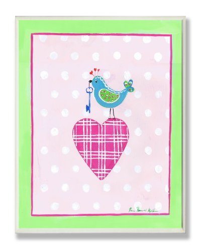 The Kids Room by Stupell Blue Bird Perched on Pink Plaid Heart Rectangle Wall Plaque