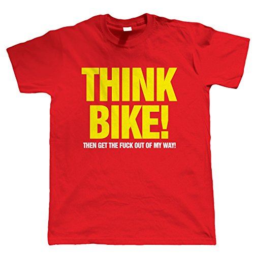 Teerigami Think Bike Men Funny Biker T-Shirt - Birthday Gift for Him Dad Mens, small Red