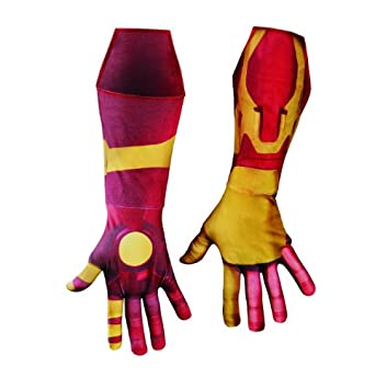 Disguise Marvel Iron Man 3 Mark 42 Deluxe Adult Gloves Costume Accessory, Gold/Red, One Size Adult