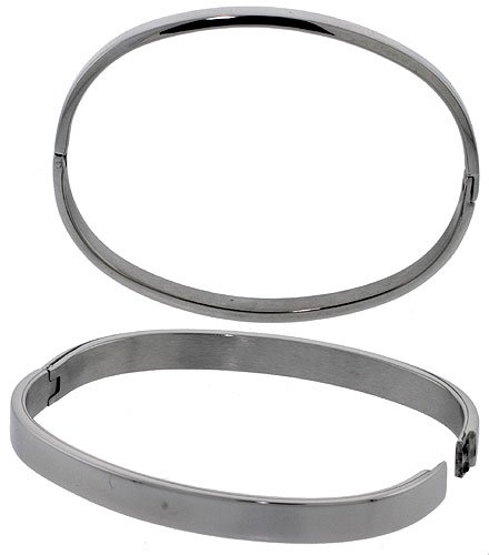 Sabrina Silver Lady's Solid Stainless Steel Oval Bangle (BSS16)