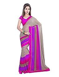 Fabdeal Brown Georgette Printed Saree Sari Sarees - B00PIRP834